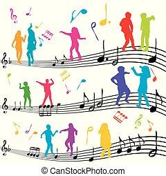 geitjes, dancing, abstract, aantekening, silhouettes, muziek
