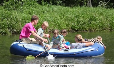 geitjes, gezin, scheepje, roeisport, rubber, 4