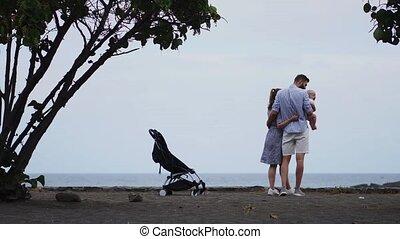 geitjes, gezin, twee, tropische , zand, wit strand