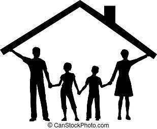 geitjes, gezin, woning, op, dak, onder, thuis, houden