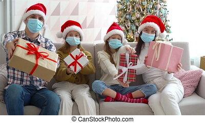geitjes, jonge, het houden hedenen, familie kerstmis, vrolijke