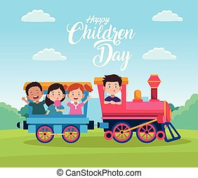 geitjes, kinderen, dag, trein, vrolijke , spelend, viering