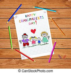 geitjes, kleurrijke, grootouders, illustratie, hand, vector, grandparends, getrokken, kinderen, dag