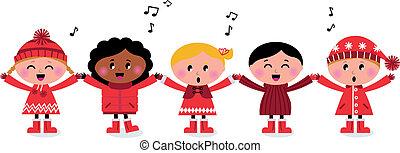 geitjes, lied, multicultureel, caroling, het glimlachen, het zingen, vrolijke