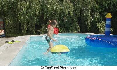 geitjes, mo, springt, slo, pool, zwemmen