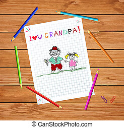 geitjes, opa, samen., illustratie, granddughter