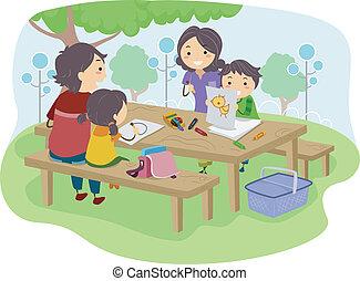 geitjes, park, tekening, gezin