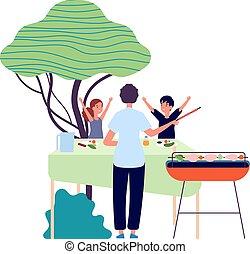 geitjes, partij., picnic., vrolijke , shoarma, bbq, groentes, eten, children., vector, illustratie, ouder, natuur, achterplaats