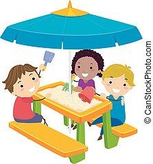 geitjes, picknick, stickman, illustratie, zand, tafel