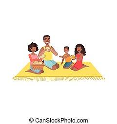 geitjes, picknick, twee, gezin