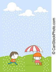 geitjes, rain.