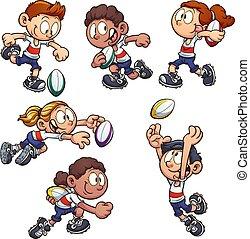 geitjes, rugby, spelend