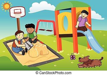 geitjes, speelplaats, spelend