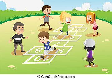 geitjes, spelend, hopscotch