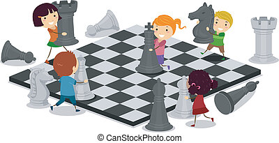geitjes, spelend schaakspel