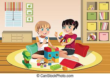 geitjes, spelend, speelgoed