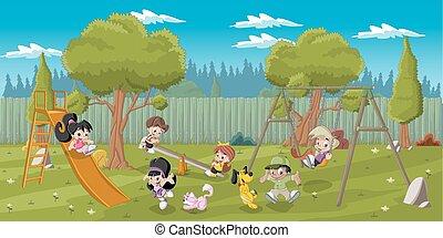 geitjes, spelend, speelplaats