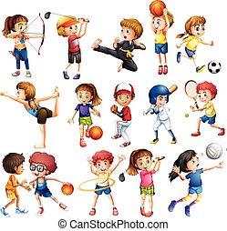 geitjes, sportende, spelend
