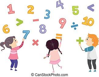 geitjes, stickman, getallen, wiskunde