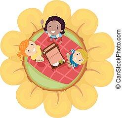 geitjes, stickman, lente, illustratie, bloem, picknick