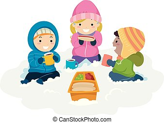 geitjes, stickman, winter, sneeuw, illustratie, picknick