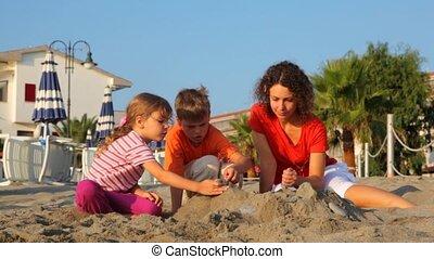 geitjes, twee, zand, stapel, mamma, vervaardiging