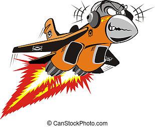 gek, vector, straalvliegtuig