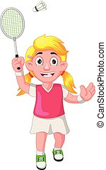gekke , badminton, spotprent, speler