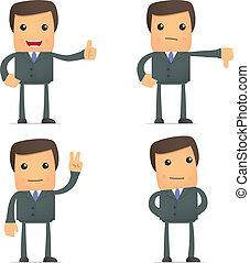 gekke , duim boven, dons, zakenman, houden, spotprent