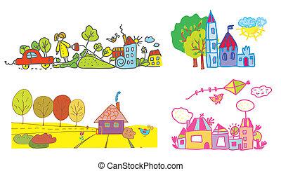 gekke , geitjes, zomer, -, herfst, achtergrond