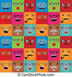 gekke , monster, seamless, hipster, achtergrond, gezichten