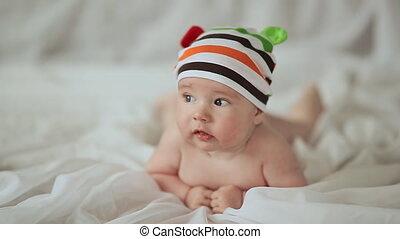 gekke , zijn, oud, maand, vier, baby, maag, het glimlachen, het liggen