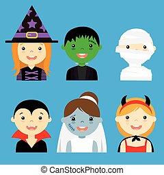 geklede, hallowe, avatar, kinderen