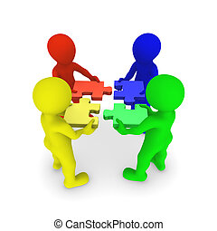 gekleurde, mensen, raadsel, jigsaw, het verbinden, 3d
