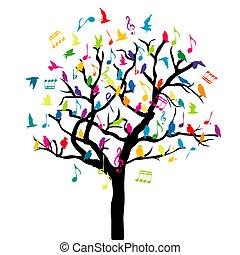 gekleurde, tree.eps, opmerkingen, muziek, vogels, concept, muzikalisch