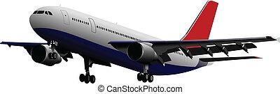 gekleurde, vect, passagier, airplanes.