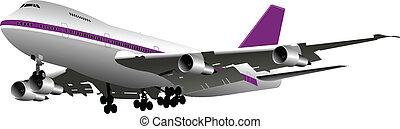 gekleurde, vector, passagier, airplanes.