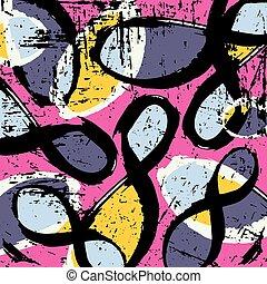 gekleurde, voorwerpen, illustratie, geometrisch, vector, graffiti