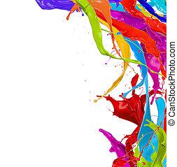 gekleurde, vrijstaand, verf , plonsen, achtergrond, witte