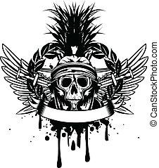 gekruiste, helm, zwaard, schedel
