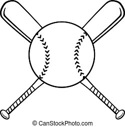 gekruiste, knuppels, honkbal bal