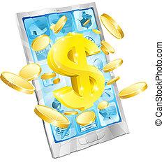 geld, concept, dollar, telefoon