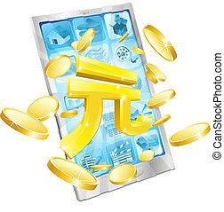 geld, concept, yuan, telefoon