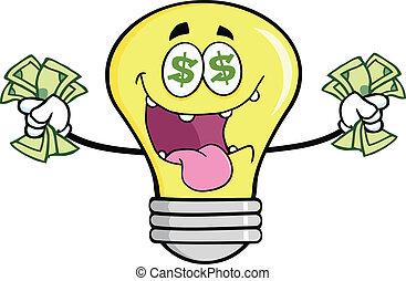 geld, hartelijk, karakter, bol, licht
