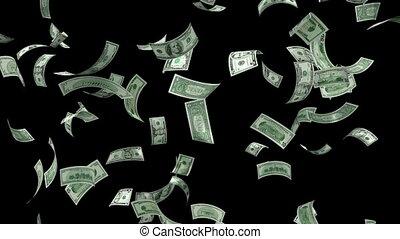 geld, het vallen, lus