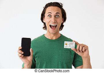 geld, smartphone, brunette, vasthouden, verbaasd, beeld, man, contant