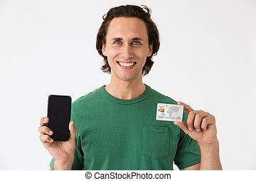 geld, smartphone, mannelijk, brunette, vasthouden, beeld, man, contant