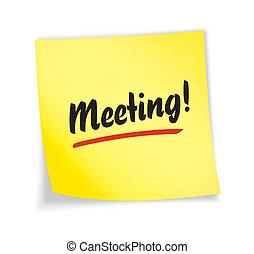 """gele, """"meeting"""", aantekening, kleverig"""
