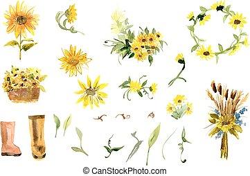 gele, samenstelling, zonnebloem