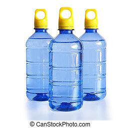 gele, vasthouden, blauw glb, fles, achtergrond., water